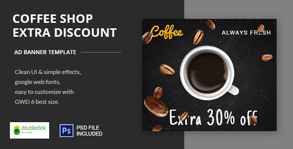 Coffee Shop | HTML5 Banner Template (Ad Templates)