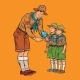 Scoutmaster Shows Little Insect to Young Scouts