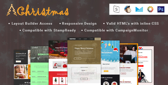 Download Christmas and eCommerce-Responsive Email Template + Stampready builder nulled download