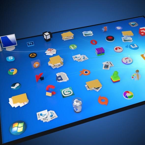 windows desktop icons in 3d - 3DOcean Item for Sale
