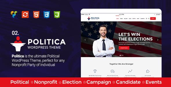 Political, Activism/Causes, Campaign, Election, Non-Profit, Charity & Donations - Politica Theme
