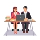 Download Vector Business Man and Woman Working Together