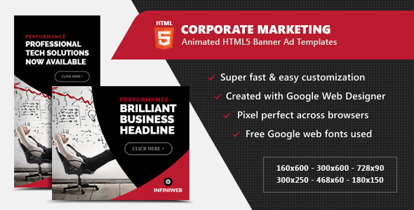 Corporate Marketing and advertising Banners – HTML5 Animated GWD (Ad Templates)