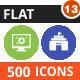 500 Vector Flat Round Icons Bundle (Vol-13)