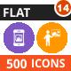 500 Vector Flat Round Icons Bundle (Vol-14)
