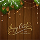 Golden Decorations and Christmas Greeting on Brown Wooden Background