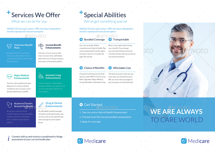 medical office brochure templates - trifold medical brochure template by tontuz graphicriver