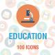 100 Education Flat Circle Icons