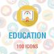 100 Education Flat Shadow Circle Icons