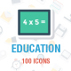 100 Education Flat Paper Icons