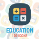 100 Education Flat Square Icons