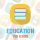 100 Education Flat Square with shadow Icons
