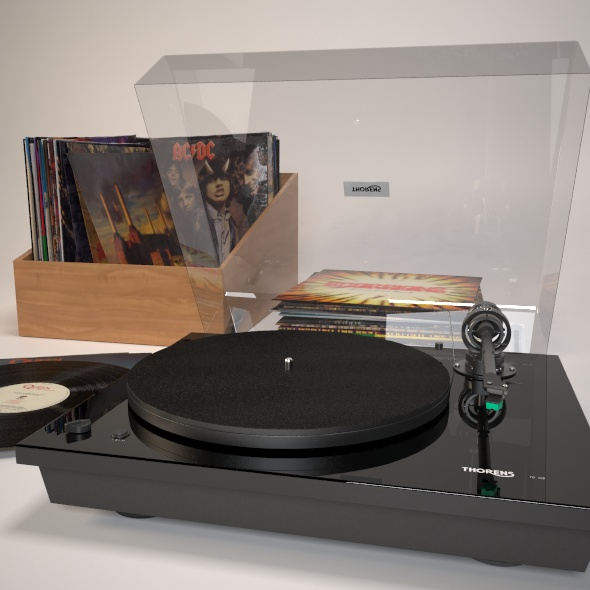 Turntabe and vinyl records - 3DOcean Item for Sale
