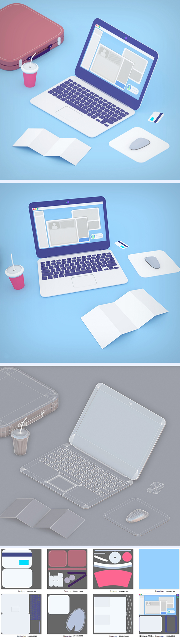 Laptop in toon 3d style - 3DOcean Item for Sale