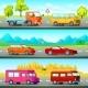 Orthogonal Cars Banners Set