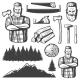 Vintage Lumberjack Emblem Elements