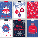 12 Christmas Cards and Seamless Patterns