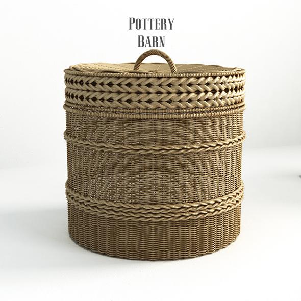 Pottery barn, Lidded Barrel Basket. - 2. - 3DOcean Item for Sale