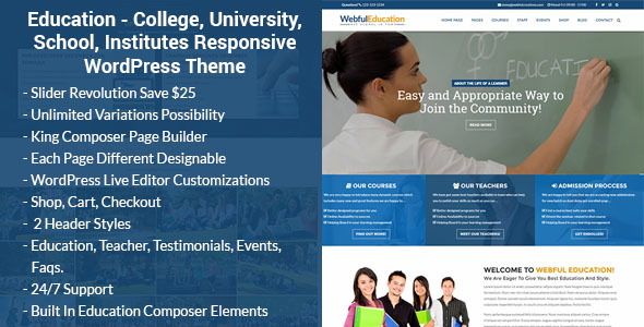 Download Education - College, University, School, Institutes WordPress Theme