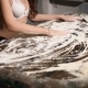 Sexy Erotic Girl Smudging Flour on Table