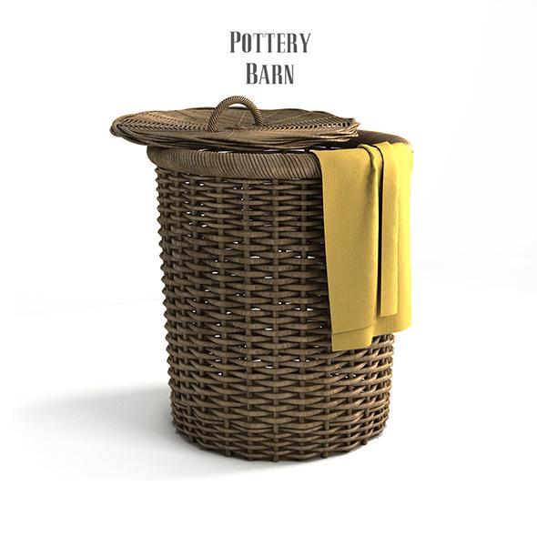 Pottery barn, Round Perry Wicker Basket Hamper Havana Weave. - 3DOcean Item for Sale