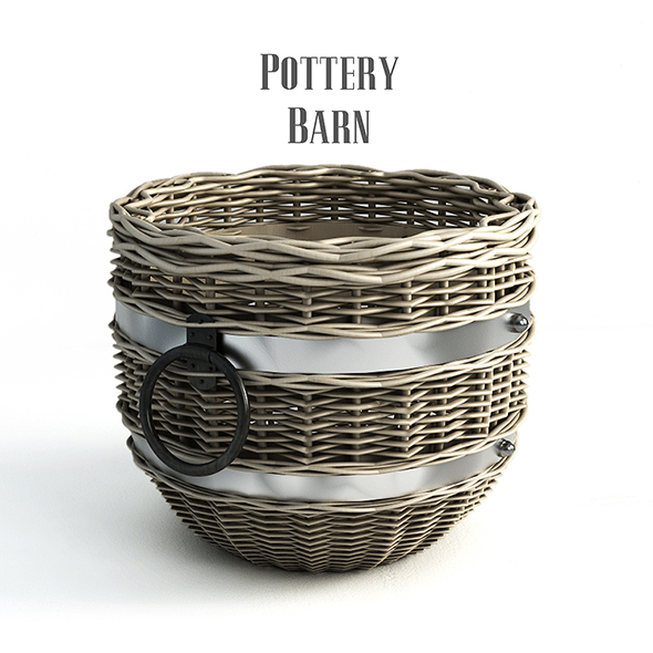 Pottery barn, Cask Round Basket. - 3DOcean Item for Sale