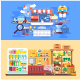 Flat Concept Supermarket and E-Commerce
