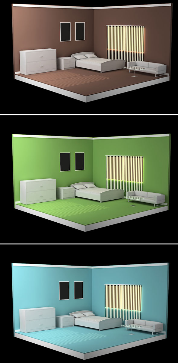 3DOcean Isometric Bed Room Model 19178922
