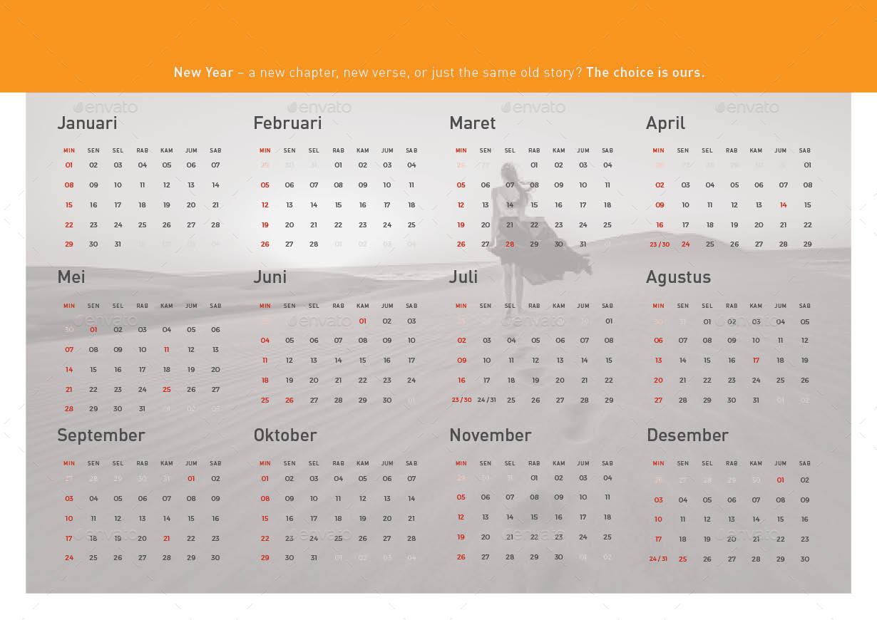 Clean Calendar 2017 by atensi | GraphicRiver