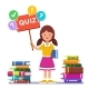 Girl Standing Near Books and Holding Quiz Placard