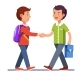 Two Boys Shaking Hands Making Peace
