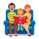 Mom, Dad and Daughter Reading Story Book Together