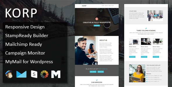 KORP - Multipurpose Responsive Email Template + Stampready Online Builder Access