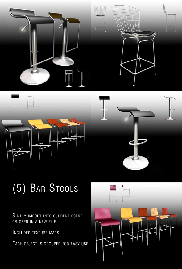 3DOcean Bar Stool set 1 73077