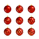 Set of Red Christmas Balls with Golden Pattern
