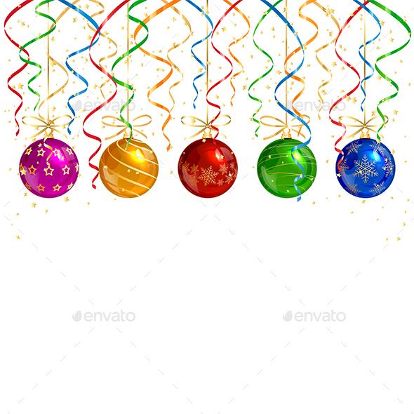 Christmas Balls and Colorful Tinsel