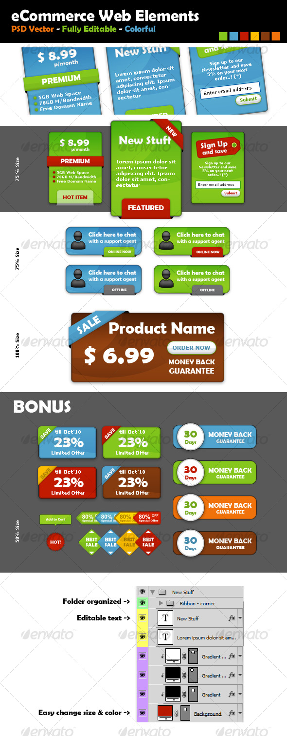 GraphicRiver eCommerce Web Elements 73080