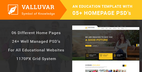 Valluvar - Education Multipurpose PSD Template