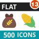 500 Vector Flat Icons Bundle (Vol-13)