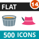 500 Vector Flat Icons Bundle (Vol-14)