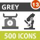 500 Vector Greyscale Icons Bundle (Vol-13)