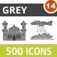 500 Vector Greyscale Icons Bundle (Vol-14)