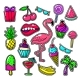 Embroidery Tropical Fashion Patches. Patch Vector