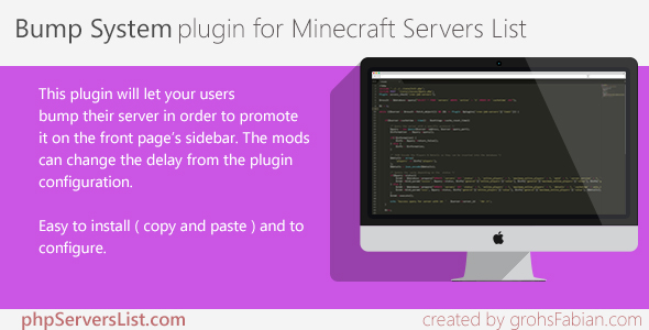 Download Bump System plugin for Minecraft Servers List nulled download