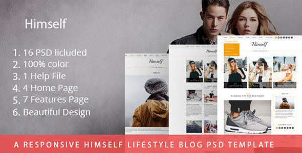A Responsive Himself lifestyle Blog PSD Template