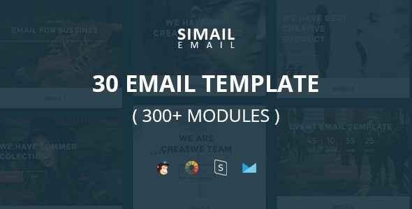 SIMAIL - 30 (300+ Modules) Email Template + Stampready Builder
