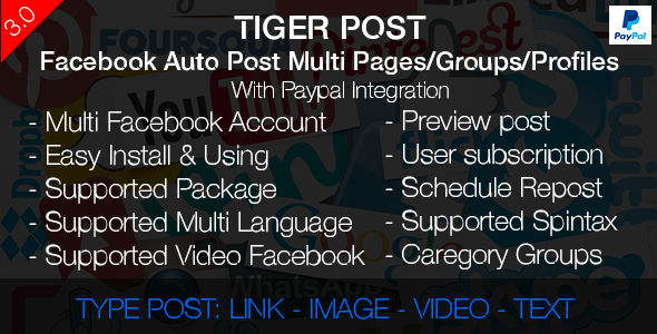 Tiger Post – Facebook Auto Post Multi Pages/Groups/Profiles with Paypal integration