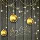 Golden Decorations and Christmas Balls on Black Wooden Background