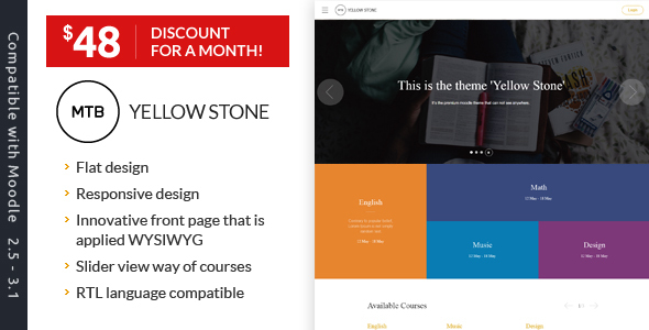 Download YellowStone - The premium moodle theme