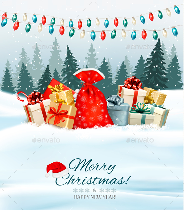 Holiday Christmas Greeting Card with Colorful Presents